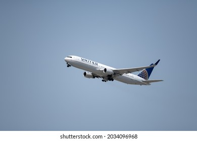Los Angeles, CA: August 19, 2021:  A United Airlines plane at Los Angeles International Airport (LAX). United Airlines was founded in 1926.