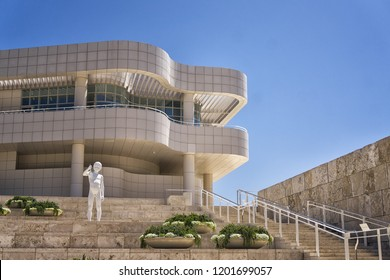 LOS ANGELES, CA - August 23, 2018: The Getty Museum entrance with art sculpture and quirky building.