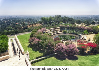 LOS ANGELES, CA - August 23, 2018: The Getty Museum Gardens and view of Los Angeles.