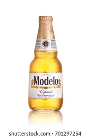 Los Angeles CA - August 23: Bottle of Modelo Especial isolated on white background. Brewed in Mexico and distributed worldwide