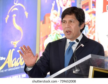 LOS ANGELES, CA. August 24, 2017: California State senator Kevin de Leon at the the Hollywood Walk of Fame star ceremony honoring French singer Charles Aznavour on Hollywood Boulevard