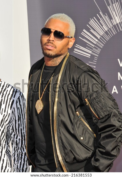 LOS ANGELES, CA - AUGUST 24, 2014: Chris Brown at the 2014 MTV Video Music Awards at the Forum, Los Angeles.