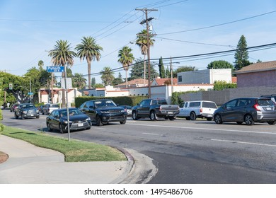 Los Angeles, CA: August 25, 2019:  Traffic and urban life in the Venice neighborhood in the city of Los Angeles.    Los Angeles has a population of 4 million people.