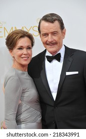 LOS ANGELES, CA - AUGUST 25, 2014: Bryan Cranston & wife at the 66th Primetime Emmy Awards at the Nokia Theatre L.A. Live downtown Los Angeles.