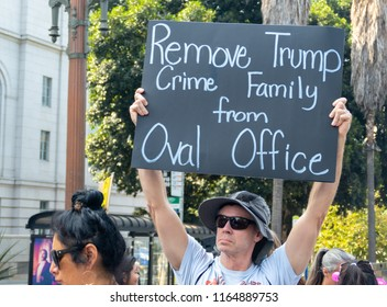 LOS ANGELES, CA - AUGUST 26, 2018:  Protesters took to the streets to protest Donald Trump's nomination of Brett Kavanaugh to the Supreme Court,.