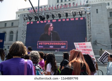 LOS ANGELES, CA - AUGUST 26, 2018:  LA City Councilwoman Monica Rodriguez speaks to protesters at the Unite for Justice rally, in front of City Hall.