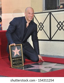 LOS ANGELES, CA - AUGUST 26, 2013: Vin Diesel on Hollywood Blvd where he was honored with the 2,504th star on the Hollwood Walk of Fame.