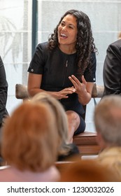 LOS ANGELES, CA - AUGUST 29, 2018: Congresswoman Xochitl Torres-Small talking about issues that impact voters across the nation.