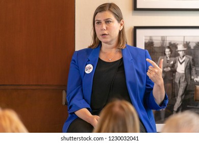LOS ANGELES, CA - AUGUST 29, 2018: Congresswoman Elissa Slotkin talking about issues that impact voters across the nation.