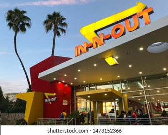 Los Angeles, CA: August 30, 2018:  In-N-Out fast food restaraunt in Los Angeles.  In-N-Out Burger is a private company with 313 locations.