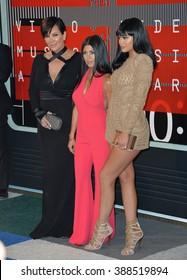 LOS ANGELES, CA - AUGUST 30, 2015: Kris Jenner, Kourtney Kardashian & Kylie Jenner at the 2015 MTV Video Music Awards at the Microsoft Theatre LA Live.