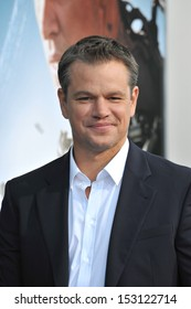 "LOS ANGELES, CA - AUGUST 7, 2013: Matt Damon at the world premiere of his movie ""Elysium"" at the Regency Village Theatre, Westwood."