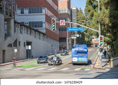 Los Angeles, CA: August 9, 2019:  University of California, Los Angeles (UCLA) campus on a sunny day.  UCLA is a public university in the Los Angeles area.