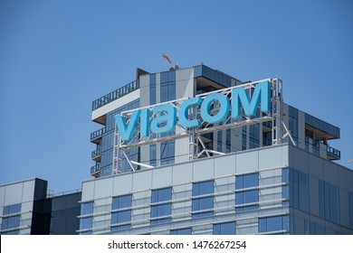 Los Angeles, CA: August 9, 2019:  Viacom building in the Hollywood district of Los Angeles.  Viacom has 11,200 employees.