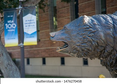 Los Angeles, CA: August 9, 2019:  The UCLA Bruin Bear on the UCLA campus.  UCLA is a public university in Los Angeles.