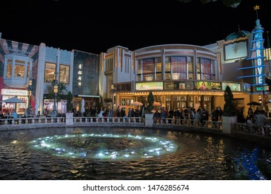 Los Angeles, CA: August 9, 2019:  Outdoors at The Grove shopping center in Los Angeles. The Grove opened to the public in 2002.