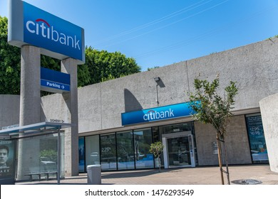 Los Angeles, CA: August 9, 2019:  A Citibank retail location in the city of Los Angeles.  Citibank is a multinational bank.