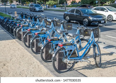 Los Angeles, CA: August 9, 2019: UCLA ride sharing bikes on the UCLA campus.  UCLA is a public university in the Los Angeles area.