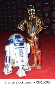 """LOS ANGELES, CA. December 09, 2017: R2-D2 & C-3PO at the world premiere for """"Star Wars: The Last Jedi"""" at The Shrine AuditoriumPicture: Jaguar"""