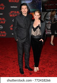 "LOS ANGELES, CA. December 09, 2017: Adam Driver & Joanne Tucker at the world premiere for ""Star Wars: The Last Jedi"" at The Shrine Auditorium