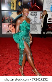 "LOS ANGELES, CA. December 09, 2017: Lupita Nyong'o at the world premiere for ""Star Wars: The Last Jedi"" at The Shrine Auditorium