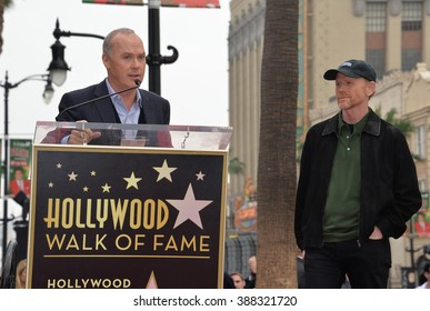 LOS ANGELES, CA - DECEMBER 10, 2015: Director Ron Howard & actor Michael Keaton on Hollywood Boulevard where he was honored with the 2,568th star on the Hollywood Walk of Fame.