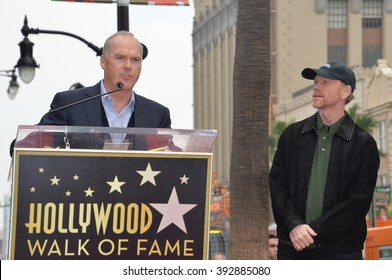 LOS ANGELES, CA - DECEMBER 10, 2015: Director Ron Howard & actor Michael Keaton at Ron Howard's Hollywood Walk of Fame star ceremony