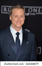 """LOS ANGELES, CA - DECEMBER 10, 2016: Actor Alan Tudyk at the world premiere of """"Rogue One: A Star Wars Story"""" at The Pantages Theatre, Hollywood."""