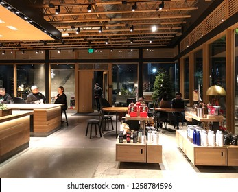 Los Angeles, CA: December 13, 2018:  Interior of a Starbucks Reserve store in Los Angeles.   Starbucks has plans to open several hundred Starbucks Reserve stores in the world.