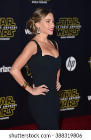 """LOS ANGELES, CA - DECEMBER 14, 2015: Actress Sofia Vergara at the world premiere of """"Star Wars: The Force Awakens"""" on Hollywood Boulevard"""