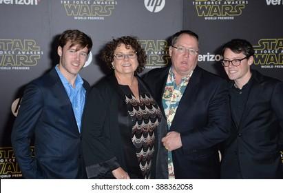 "LOS ANGELES, CA - DECEMBER 14, 2015: Disney-Pixar boss John Lasseter & wife & sons at the world premiere of ""Star Wars: The Force Awakens"" on Hollywood Boulevard"