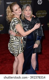 """LOS ANGELES, CA - DECEMBER 14, 2015: Actress Carrie Fisher & daughter Billie Lourd at the world premiere of """"Star Wars: The Force Awakens"""" on Hollywood Boulevard"""