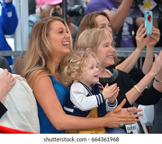 LOS ANGELES, CA - DECEMBER 15, 2016: Actress Blake Lively & daughter James Reynolds (2) & Tammy Reynolds (Ryan's mother) at the Hollywood Walk of Fame Star Ceremony honoring actor Ryan Reynolds.