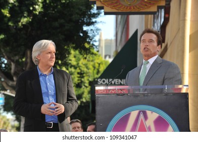 LOS ANGELES, CA - DECEMBER 18, 2009: Director James Cameron with California Governor Arnold Schwarzenegger on Hollywood Boulevard where Cameron was honored with a star on the Hollywood Walk of Fame.