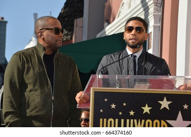 LOS ANGELES, CA. December 2, 2016: Lee Daniels & Jussie Smollett at star ceremony for director Lee Daniels on the Hollywood Walk of Fame.