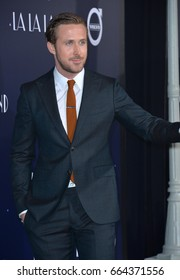 "LOS ANGELES, CA - DECEMBER 6, 2016: Actor Ryan Gosling at the Los Angeles premiere for ""La La Land"" at the regency Village Theatre, Westwood."