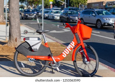LOS ANGELES, CA - DECEMBER 8, 2018: Uber has added e-bikes to its app in some US cities.