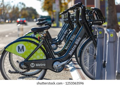 LOS ANGELES, CA - DECEMBER 8, 2018: Metro Bike Share began a three-month pilot program in November offering electric-assist bicycles in downtown Los Angeles