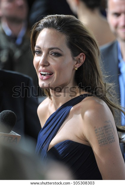 """LOS ANGELES, CA - DECEMBER 8, 2011: Angelina Jolie at the Los Angeles premiere of her new movie """"In The Land of Blood and Honey"""" at the ArcLight Theatre, Hollywood. December 8, 2011  Los Angeles, CA"""