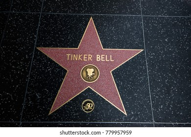 Los Angeles, CA - December 9, 2017: This is a star on the Hollywood Walk Of Fame with the name of Tinker Bell on it as seen on this date