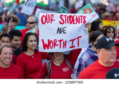 LOS ANGELES, CA - DECEMEBER 15, 2018: Thousands of teachers, students and union allies marched through downtown Los Angeles ahead of a possible strike next month.