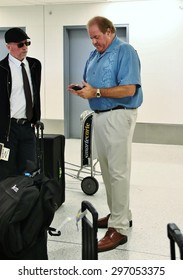 LOS ANGELES CA: Espn sportscaster Chris Berman at LAX arriving to Los Angeles to attend the Espy's being held at the Microsoft (formerly the Nokia) Theatre July 15, 2015.