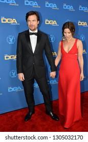 LOS ANGELES, CA. February 02, 2019: Jason Bateman & Amanda Anka at the 71st Annual Directors Guild of America Awards at the Ray Dolby Ballroom.