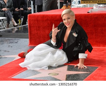 LOS ANGELES, CA. February 05, 2019: Pink at the Hollywood Walk of Fame Star Ceremony honoring singer Pink.