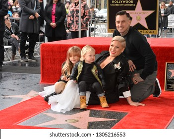 LOS ANGELES, CA. February 05, 2019: Pink, Carey Hart, Willow Sage Hart & Jameson Moon Hart at the Hollywood Walk of Fame Star Ceremony honoring singer Pink.