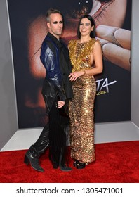 "LOS ANGELES, CA. February 05, 2019: Dua Lipa & Justin Tranter at the premiere for ""Alita: Battle Angel"" at the Regency Village Theatre, Westwood."
