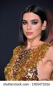 "LOS ANGELES, CA. February 05, 2019: Dua Lipa at the premiere for ""Alita: Battle Angel"" at the Regency Village Theatre, Westwood."