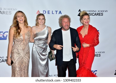 LOS ANGELES, CA. February 08, 2019: Sammy Hagar, Kari Karte, Kama Hagar & Samantha Hagar at the 2019 MusiCares Gala at the Los Angeles Convention Centre. Picture: Paul Smith/Featureflash