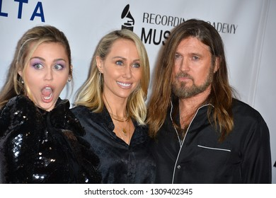 LOS ANGELES, CA. February 08, 2019: Miley Cyrus, Letitia Cyrus & Billy Ray Cyrus at the 2019 MusiCares Person of the Year Gala at the Los Angeles Convention Centre. Picture: Paul Smith/Featureflash