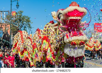 LOS ANGELES, CA - FEBRUARY 1: 115th Annual Golden Dragon Parade, Lunar New Year celebrations on February 1, 2014 in Los Angeles, California.